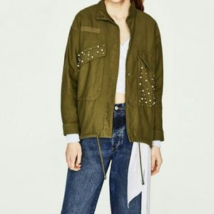 Zara TRF Outerwear Khaki Green with Pearl Jacket